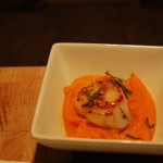 Tumeric Roasted Butternut Squash Puree with Pan Seared Scallops and Rosemary Cracklings