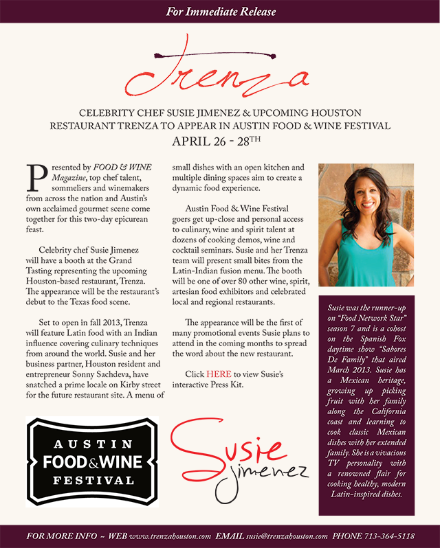 Press realease for the Austin Food & Wine Festival
